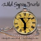 Altered Art CLOCK face glass round cabochon Necklace Pendant Charm Initial ~ Y