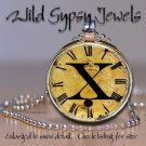 Altered Art CLOCK face glass round cabochon Necklace Pendant Charm Initial ~ X