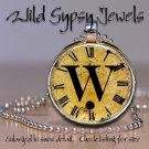 Altered Art CLOCK face glass round cabochon Necklace Pendant Charm Initial ~ W
