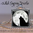 """Wolf Blue Moon howling B&W gray nature lover GIFT 1"""" glass tile pendant necklace"""