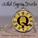 Altered Art CLOCK face glass round cabochon Necklace Pendant Charm Initial ~ Q