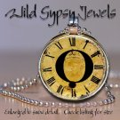 Altered Art CLOCK face glass round cabochon Necklace Pendant Charm Initial ~ O