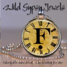 Altered Art CLOCK face glass round cabochon Necklace Pendant Charm Initial ~ F