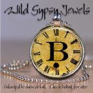 Altered Art CLOCK face glass round cabochon Necklace Pendant Charm Initial ~ B