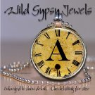 Altered Art CLOCK face glass round cabochon Necklace Pendant Charm Initial ~ A