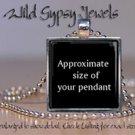 Pink Mauve Heart chic vintage ephemera glass tile metal pendant charm necklace