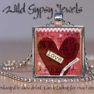 My Valentine LOVE glass tile metal pendant charm necklace Red Heart altered art