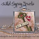Heart Be Mine pink RED altered art style glass tile metal pendant charm necklace