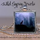 """Wolf Moon howling forest woods nature lover GIFT 1"""" glass tile pendant necklace"""