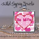 Be Mine Valentine's Day Hearts Pink HOT glass tile metal pendant charm necklace