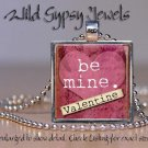 Be Mine Valentine RED mauve pink heart glass tile metal pendant charm necklace