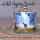 """Mystical forest fairy UNICORN blue 1"""" glass tile metal charm pendant necklace"""