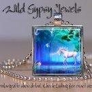 "Fairy fae UNICORN blue green pool 1"" glass tile metal charm pendant necklace"