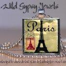 """Paris Eiffel Tower vintage postage 1"""" glass tile pendant metal charm necklace"""