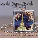 "Paris Eiffel Tower Postage stamp Navy blue 1"" glass tile pendant charm necklace"
