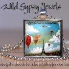 "Paris Eiffel Tower Hot Air Balloons 1"" glass tile pendant charm necklace gift"