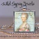 "French Ephemera Marie Antoinette Aqua Pink 1"" glass tile pendant necklace charm"