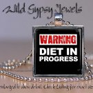 Diet Dieting Weight Loss Warning black white glass tile pendant necklace charm