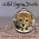 "Baby leopard cub sweet BIG CAT 1"" round glass tile metal pendant charm necklace"