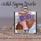 "Whimsical Wise Old Owl CUPCAKE brown violet brite 1"" glass tile pendant necklace"