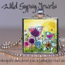 "Mom Baby birds whimsical yellow blue HOT fuschia 1"" glass tile pendant necklace"