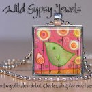 "Lime Green Baby Bird Flowers chic PINK 1"" glass tile metal pendant necklace"