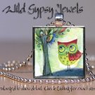 """Wise Owl Tree of Life Green Red whimsical bright 1"""" glass tile pendant necklace"""