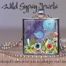 "Mother Baby Blue Birds colorful watercolor print 1"" glass tile pendant necklace"