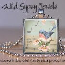 """Baby bluebird whimsical chic musical background 1"""" glass tile and metal pendant"""
