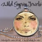 Moon Goddess altered clock face Series glass tile metal charm pendant necklace