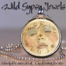 Moon Goddess Series altered clock face glass tile metal charm pendant necklace