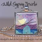 "Baby Bird Night Sky House 1"" glass tile pendant necklace NEW Low Price"
