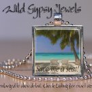 "Tropical Island Ocean Sea Beach VACATION 1"" glass tile metal pendant necklace"