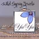 "Mothers Day GIFT idea YaYa BLUE flower chic 1"" glass tile metal pendant necklace"
