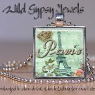 "Eiffel Tower French Vintage Roses Aqua Pink 1"" glass tile pendant necklace charm"