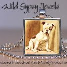 "English Bulldog brown gold cute dog sweet Vtg 1"" glass tile pendant necklace"