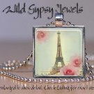 "French Eiffel Tower Vintage Roses Aqua Pink 1"" glass tile pendant necklace charm"