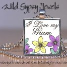Mother Day GIFT Yellow Love my Gram Lavender floral glass tile pendant necklace