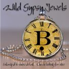 Initial ~ B Altered Art CLOCK face glass round cabochon Necklace Pendant Charm