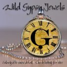 Initial ~G Altered Art CLOCK face glass round cabochon Necklace Pendant Charm