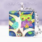 Mother Owl Tree Baby Aqua Bird 1&quot; GLASS tile pendant
