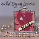 "Nana Mothers Day Mom Grandma LOVE HEART 1"" glass tile pendant necklace gift idea"