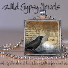 "Steampunk Clockwork Black Crow Bird 1"" Glass Tile Pendant Necklace Jewelry GIFT"