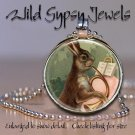 "Petit Lapin French Horn Bunny music 1"" glass tile round metal pendant necklace"