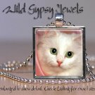 "Cat PINK sweet cute White KITTEN Green Eyes 1"" Glass Tile Metal Pendant Necklace"