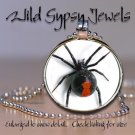 "Punk Gothic Black Widow Spider 1"" Round Glass Tile Fashion Necklace Pendant"