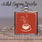 """Coffee cup mug cafe lover caffeine beige rust 1"""" glass tile pendant necklace"""