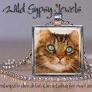 """Cat sweet cute KITTEN Eyes 1"""" Glass Tile Metal Pendant Necklace"""