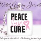 Breast Cancer Awareness Love PINK Heart ribbon glass tile metal pendant charm