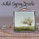 "Landscape single tree blue sky green 1"" glass tile square metal pendant necklace"